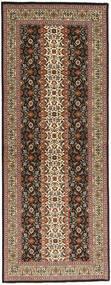 Tabriz 50 Raj Vloerkleed 80X214 Echt Oosters Handgeknoopt Tapijtloper Bruin/Lichtbruin/Donkerbruin (Wol/Zijde, Perzië/Iran)