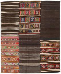 Kelim Patchwork Vloerkleed 194X234 Echt Modern Handgeweven Donkerbruin/Donkerrood (Wol, Turkije)