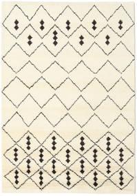 Berber Indiaas - Off-Wit/Zwart Vloerkleed 160X230 Echt Modern Handgeknoopt Beige/Wit/Creme (Wol, India)