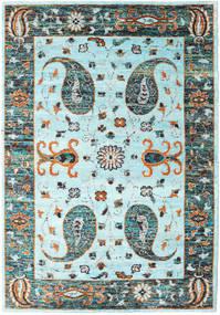 Vega Sari Zijde - L.blue Vloerkleed 210X290 Echt Modern Handgeknoopt Turquoise Blauw/Lichtgrijs (Zijde, India)