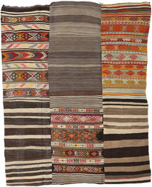 Kelim Patchwork Vloerkleed 199X253 Echt Modern Handgeweven Donkergrijs/Donkerrood (Wol, Turkije)