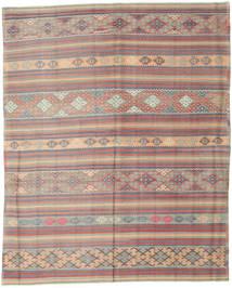 Kelim Turkije Vloerkleed 196X244 Echt Oosters Handgeweven Lichtgrijs/Donkerbruin (Wol, Turkije)