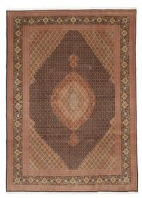 Tabriz 50 Raj Met Zijde Vloerkleed 252X353 Echt Oosters Handgeknoopt Bruin/Donkerbruin Groot (Wol/Zijde, Perzië/Iran)