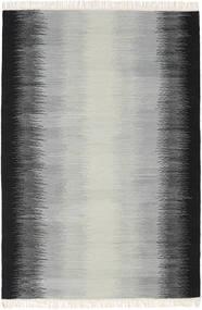 Ikat - Zwart/Grijs Vloerkleed 140X200 Echt Modern Handgeweven Lichtgrijs/Zwart (Wol, India)