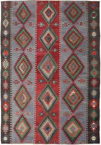 Kelim Turkije Vloerkleed 187X253 Echt Oosters Handgeweven Donkergrijs/Rood (Wol, Turkije)