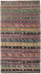 Kelim Turkije Vloerkleed 155X286 Echt Oosters Handgeweven Donkergrijs/Bruin (Wol, Turkije)