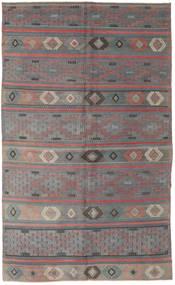 Kelim Turkije Vloerkleed 168X285 Echt Oosters Handgeweven Donkerbruin/Donkergrijs (Wol, Turkije)