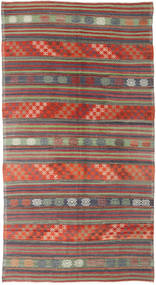 Kelim Turkije Vloerkleed 174X318 Echt Oosters Handgeweven Donkerrood/Donkergrijs (Wol, Turkije)