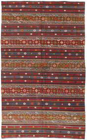Kelim Turkije Vloerkleed 168X280 Echt Oosters Handgeweven Donkerrood/Donkergrijs (Wol, Turkije)