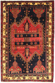 Koliai Vloerkleed 140X210 Echt Oosters Handgeknoopt Zwart/Donkerrood (Wol, Perzië/Iran)