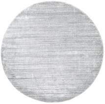 Bamboe Zijde Loom - Grijs Vloerkleed Ø 200 Modern Rond Lichtgrijs/Wit/Creme ( India)