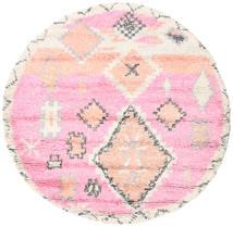 Odda - Roze Vloerkleed Ø 200 Echt Modern Handgeknoopt Rond Lichtroze/Beige (Wol, India)