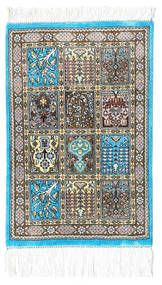 Ghom Zijde Vloerkleed 30X40 Echt Oosters Handgeknoopt Beige/Donkergrijs/Lichtgrijs (Zijde, Perzië/Iran)