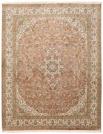 Kashmir Puur Zijde Vloerkleed 204X257 Echt Oosters Handgeknoopt Bruin/Lichtbruin (Zijde, India)