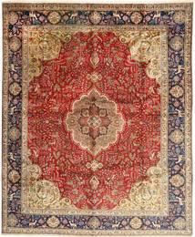 Tabriz Vloerkleed 308X380 Echt Oosters Handgeknoopt Donkerbruin/Donkerrood Groot (Wol, Perzië/Iran)
