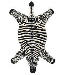 Zebra Vloerkleed 100X155 Modern Zwart/Beige (Wol, India)
