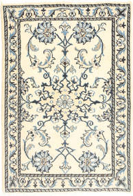 Nain Vloerkleed 60X90 Echt Oosters Handgeknoopt Beige/Lichtgrijs (Wol, Perzië/Iran)