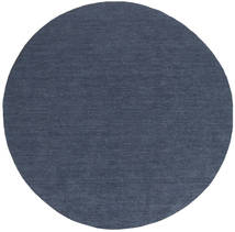 Kelim Loom - Denim Blauw Vloerkleed Ø 200 Echt Modern Handgeweven Rond Blauw (Wol, India)