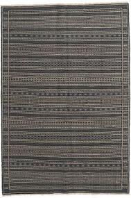 Kelim Perzisch Vloerkleed 160X230 Echt Oosters Handgeweven Donkergrijs/Zwart/Lichtgrijs (Wol, Perzië/Iran)