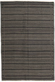 Kelim Perzisch Vloerkleed 160X230 Echt Oosters Handgeweven Donkergrijs/Zwart (Wol, Perzië/Iran)
