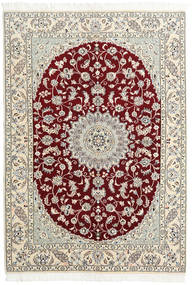 Nain 9La Vloerkleed 146X220 Echt Oosters Handgeknoopt Beige/Lichtgrijs/Donkerrood (Wol/Zijde, Perzië/Iran)