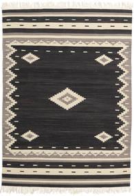 Tribal - Zwart Vloerkleed 140X200 Echt Modern Handgeweven Zwart/Beige (Wol, India)
