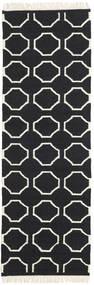 London - Zwart/Gebroken Wit Vloerkleed 80X250 Echt Modern Handgeweven Tapijtloper Zwart/Beige (Wol, India)