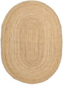 Frida Oval - Natural Vloerkleed 140X200 Echt Modern Handgeweven Donkerbeige/Beige ( India)
