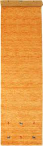 Gabbeh Loom Two Lines - Oranje Vloerkleed 80X350 Modern Tapijtloper Geel/Lichtbruin (Wol, India)