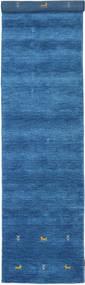 Gabbeh Loom Two Lines - Blauw Vloerkleed 80X350 Modern Tapijtloper Blauw/Donkerblauw (Wol, India)