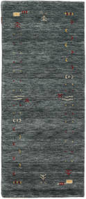 Gabbeh Loom Frame - Donkergrijs/Groen Vloerkleed 80X200 Modern Tapijtloper Donkergrijs/Donkergroen (Wol, India)