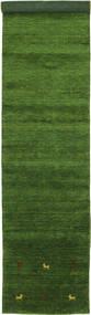 Gabbeh Loom Two Lines - Groen Vloerkleed 80X450 Modern Tapijtloper Donkergroen (Wol, India)