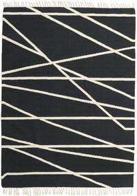 Cross Lines - Zwart/Gebroken Wit Vloerkleed 160X230 Echt Modern Handgeweven Donkergrijs/Beige (Wol, India)