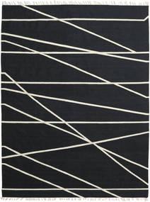Cross Lines - Zwart/Gebroken Wit Vloerkleed 250X350 Echt Modern Handgeweven Zwart Groot (Wol, India)