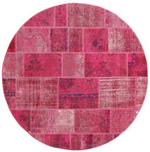 Patchwork Vloerkleed Ø 200 Echt Modern Handgeknoopt Rond Roze/Lichtroze (Wol, Perzië/Iran)