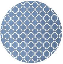 London - Blauw/Gebroken Wit Vloerkleed Ø 225 Echt Modern Handgeweven Rond Blauw/Wit/Creme (Wol, India)