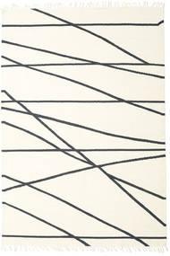 Cross Lines - Gebroken Wit/Zwart Vloerkleed 200X300 Echt Modern Handgeweven Beige/Wit/Creme (Wol, India)