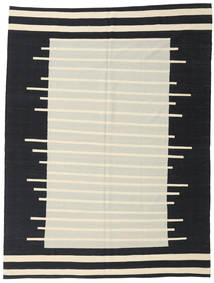 Kelim Moderne Vloerkleed 216X286 Echt Modern Handgeweven Zwart/Donkerbeige (Wol, Afghanistan)
