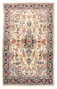 Kerman Vloerkleed 88X140 Echt Oosters Handgeknoopt Lichtbruin/Beige (Wol, Perzië/Iran)