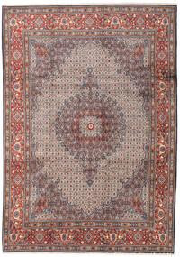 Moud Vloerkleed 250X355 Echt Oosters Handgeknoopt Donkerrood/Lichtgrijs Groot (Wol/Zijde, Perzië/Iran)