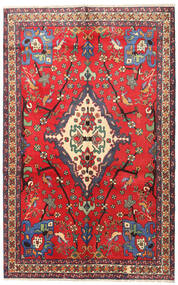 Nahavand Vloerkleed 160X253 Echt Oosters Handgeknoopt Rood/Donkerrood (Wol, Perzië/Iran)
