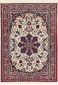 Isfahan Zijden Pool Vloerkleed 70X98 Echt Oosters Handgeknoopt Donkerrood/Donkerpaars (Wol/Zijde, Perzië/Iran)