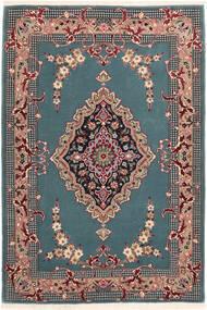 Isfahan Zijden Pool Vloerkleed 85X123 Echt Oosters Handgeknoopt Turquoise Blauw/Zwart (Wol/Zijde, Perzië/Iran)