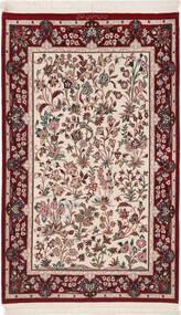 Isfahan Zijden Pool Vloerkleed 80X128 Echt Oosters Handgeknoopt Donkerrood/Beige (Wol/Zijde, Perzië/Iran)