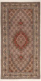 Tabriz 50 Raj Vloerkleed 70X142 Echt Oosters Handgeknoopt Donkerbruin/Donkerrood (Wol/Zijde, Perzië/Iran)