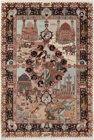 Tabriz 50 Raj Met Zijde Vloerkleed 100X148 Echt Oosters Handgeknoopt Donkerbruin/Lichtgrijs (Wol/Zijde, Perzië/Iran)