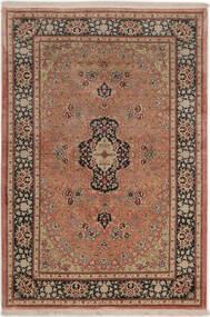 Ghom Zijde Vloerkleed 99X149 Echt Oosters Handgeknoopt Donkerrood/Lichtbruin (Zijde, Perzië/Iran)