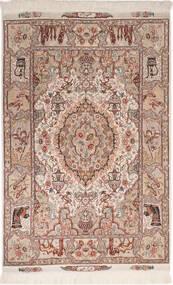 Tabriz 50 Raj Met Zijde Vloerkleed 102X150 Echt Oosters Handgeknoopt Donkerrood/Lichtgrijs (Wol/Zijde, Perzië/Iran)