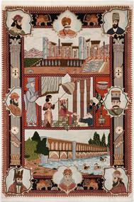 Tabriz 50 Raj Vloerkleed 103X150 Echt Oosters Handgeknoopt Lichtgrijs/Donkerrood/Donkerbruin (Wol/Zijde, Perzië/Iran)