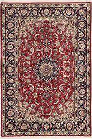 Isfahan Zijden Pool Vloerkleed 110X160 Echt Oosters Handgeknoopt Donkerrood/Donkerbruin (Wol/Zijde, Perzië/Iran)